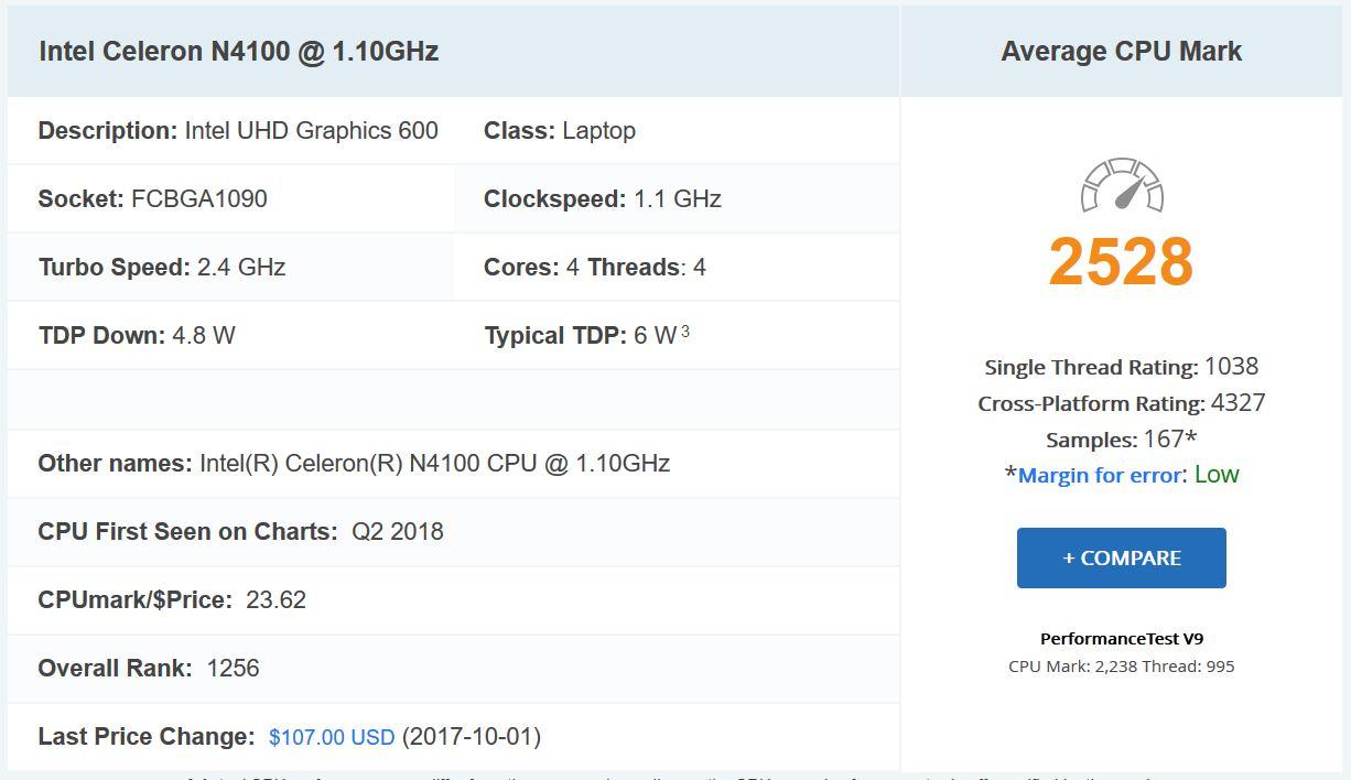 Celeron N4100 ベンチマーク結果