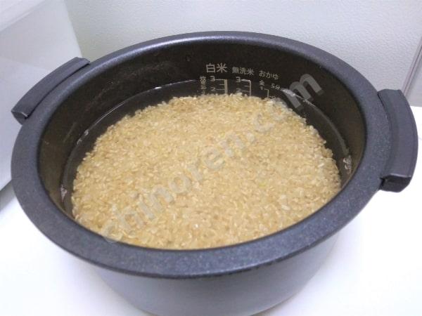 水に浸けた玄米