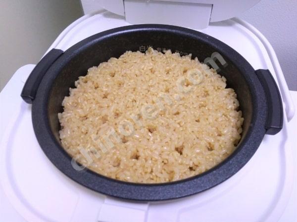 玄米の炊き上がり(1回目)